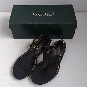 Ralph Lauren Valinda Leather Sandals Black Size 7